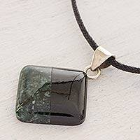 Jade pendant necklace, 'Duality' - Cotton and Jade Pendant Necklace from Central America