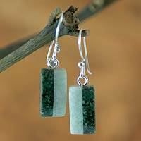Jade dangle earrings, 'Life' - Unique Good Luck Dangle Jade Earrings
