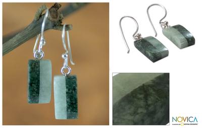 Jade dangle earrings, 'Life' - Unique Good Luck Dangle Jade Earrings