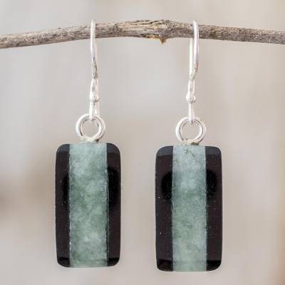 Jade dangle earrings, 'Maya Legend' - Collectible Modern Jade Dangle Earrings