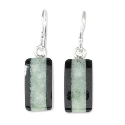 Jade dangle earrings, 'Maya Legend' - Collectible Modern Jade Dangle Earrings