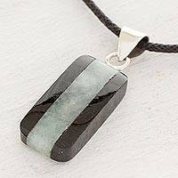 Jade pendant necklace, 'Maya Legend' - Collectible Black Cotton and Jade Pendant Necklace