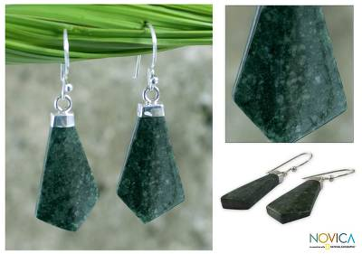 Jade dangle earrings, Warriors Lance