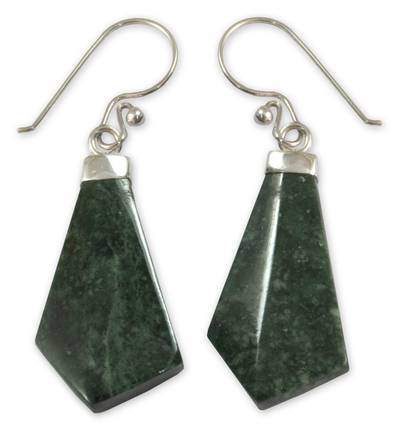 Fair Trade Jade and Sterling Silver Dangle Earrings