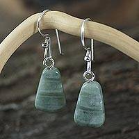 Jade dangle earrings, 'Whirlwind' - Hand Crafted Jade Dangle Earrings