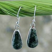 Jade dangle earrings, 'Maya Life' - Sterling Silver and Jade Dangle Earrings