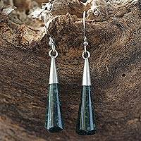 Jade dangle earrings, 'Faceted Green Droplet' - Handcrafted Sterling Silver Dangle Jade Earrings