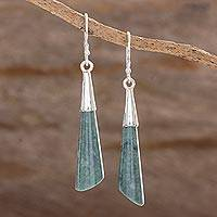 Jade dangle earrings, 'Quetzal Call' - Handcrafted Sterling Silver Dangle Jade Earrings