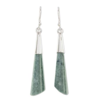 Jade dangle earrings, 'Quetzal Call' - Handcrafted Sterling Silver Dangle Jade Earrings