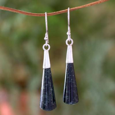 Jade dangle earrings, 'Quetzal Shadow' - Fair Trade Sterling Silver Dangle Jade Earrings