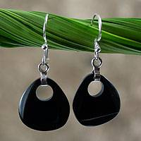 Black jade dangle earrings, 'Maya Night' - Black Jade Dangle Earrings
