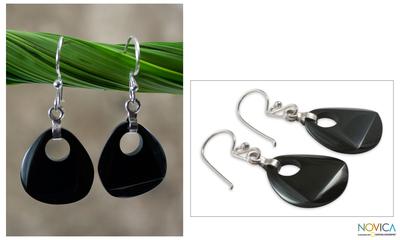 Black jade dangle earrings, 'Maya Night' - Black Jade Dangle Earrings