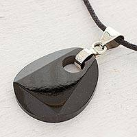 Black jade pendant necklace, 'Maya Night'