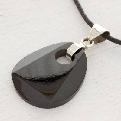 Black jade pendant necklace, 'Maya Night' - Black Jade Pendant on Black Cotton Cord Necklace