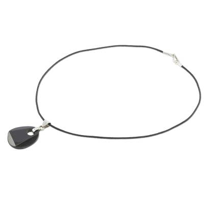 Black jade pendant necklace, 'Maya Night' - Black Jade Pendant on Black Cotton Cord Necklace