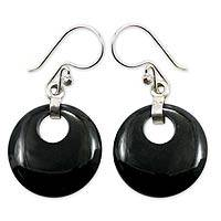 Jade dangle earrings, 'Black Maya Moon'
