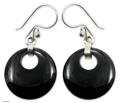 Jade dangle earrings, 'Black Maya Moon' - Fair Trade Jade Dangle Earrings with 925 Silver
