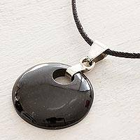 Jade pendant necklace, 'Black Maya Moon' - Jade Pendant on Black Cotton Cord Necklace