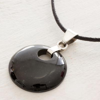 Jade pendant necklace, 'Black Maya Moon' - Jade Pendant on Black Cotton Cord Necklace