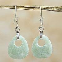 Jade dangle earrings, 'Maya Dreams' - Jade Dangle Earrings from Guatemala