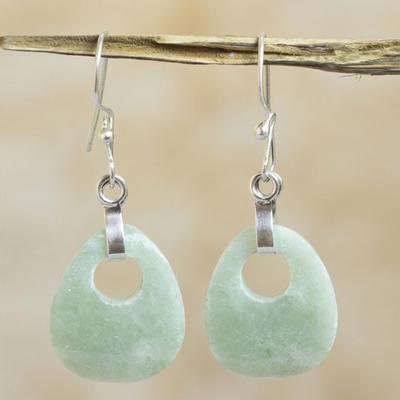 Jade dangle earrings, 'Maya Dreams' - Unique Guatemalan Dangle Jade Earrings