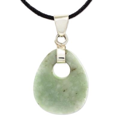 Jade pendant necklace, 'Maya Dreams' - Hand Crafted Jade Pendant on Cotton Cord Necklace