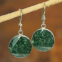 Jade dangle earrings, 'Green Moon' - Fair Trade Jade and Sterling Silver Earrings from Guatemala