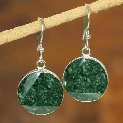 Jade dangle earrings, 'Green Moon' - Sterling Silver Jade Dangle Earrings