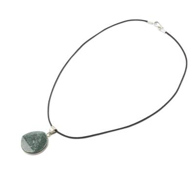Jade pendant necklace, 'Green Moon' - Guatemalan Jade Pendant on 925 Silver and Cotton Cord