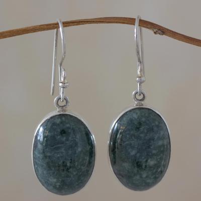 Jade dangle earrings, 'Maya Treasure' - Jade dangle earrings