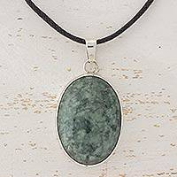 Jade pendant necklace, 'Maya Treasure' - Jade Pendant on Leather Cord