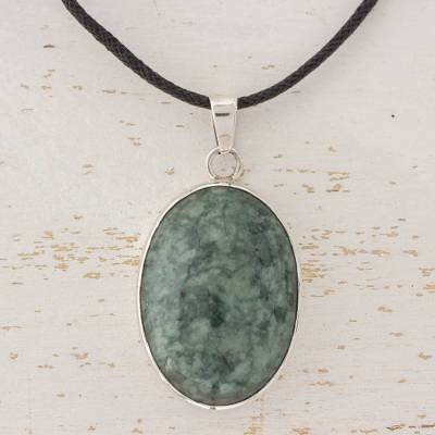 Jade pendant necklace, 'Maya Treasure' - Guatemalan Jade Pendant on 925 Silver and Cotton Cord