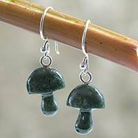 Jade dangle earrings, 'Dancing Green Mushrooms' - Jade dangle earrings