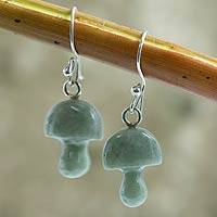 Jade dangle earrings, 'Dancing Mushrooms' - Jade dangle earrings