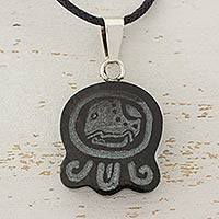 Jade pendant necklace, 'Maya Destiny Cat' - Handcrafted Nahual Cotton Cord Jade Necklace