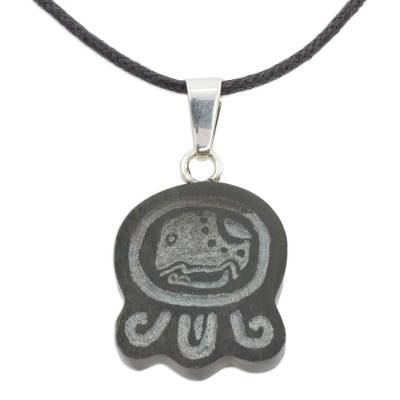 Handcrafted Nahual Leather Cord Jade Necklace
