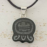 Jade pendant necklace, 'New Maya Generations' - Maya Jade Gyph Pendant on Black Cotton Cord