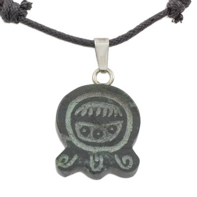 Jade pendant necklace, 'Maya Protectress' - Maya Glyph in Hand Carved Jade Pendant Necklace