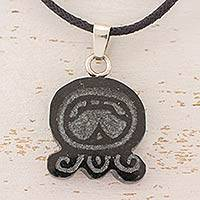 Jade pendant necklace, 'Maya Forgiveness' - Forgiveness Maya Glyph Hand Carved in Jade Necklace