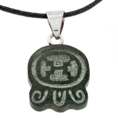 Jade pendant necklace, 'Maya Warrior Strength' - Handcrafted Nahual Cotton Cord Jade Warrior Necklace