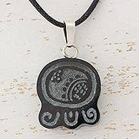 Jade pendant necklace, 'Maya Strength of Union' - Hand Made Jade Pendant Necklace with Black Cotton Cord