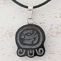 Jade pendant necklace, 'Maya Cycles of Life' - Jade Maya Glyph and Cotton Necklace with 925 Silver