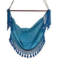 Cotton hammock swing, 'Take Me to the Sea' - Cotton hammock swing