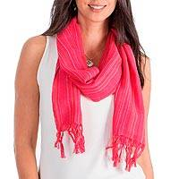 Cotton scarf, 'Monterrico Rose' - Cotton scarf