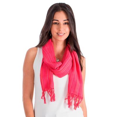 Cotton scarf, 'Monterrico Rose' - Cotton scarf