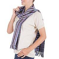 Cotton scarf, 'Blue Depths' - Cotton scarf