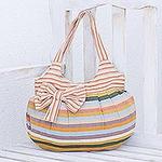 Hand Woven Striped Shoulder Bag, 'Pastel Goddess'