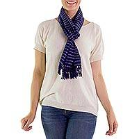 Cotton scarf, 'Indigo Fantasy' - Blue Hand Loomed Cotton Scarf