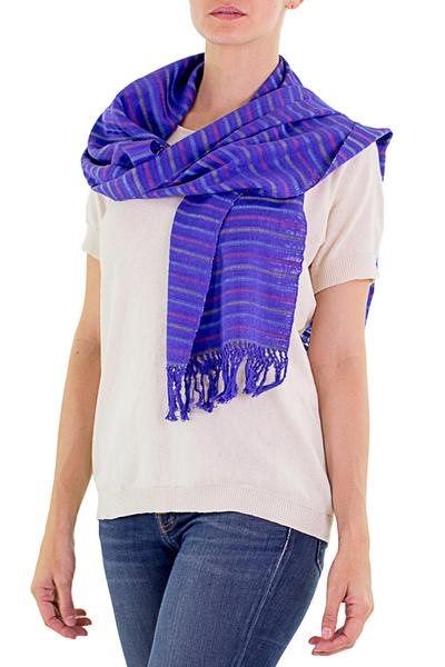 Cotton scarf, 'Vineyard Fantasy' - Guatemala Artisan Crafted Cotton Scarf