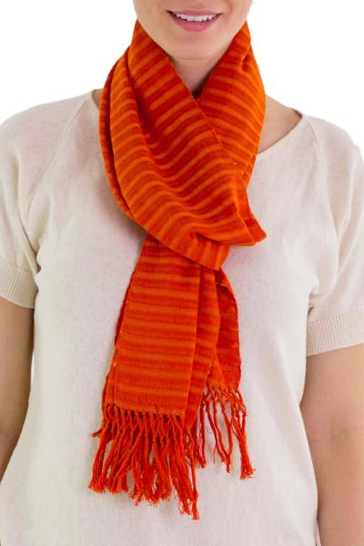 Cotton scarf, 'Citrus Fantasy' - Unique Orange Cotton Scarf